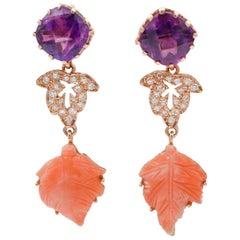 Handcrafted Dangle Earrings, Diamonds, Amethysts, Coral, 14 Karat Rose Gold