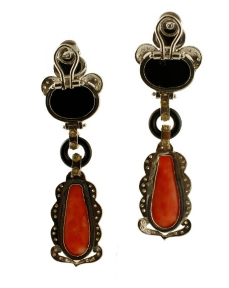 Retro Handcrafted Dangle Earrings Diamonds, Coral, Onyx, 14 Karat White Gold For Sale