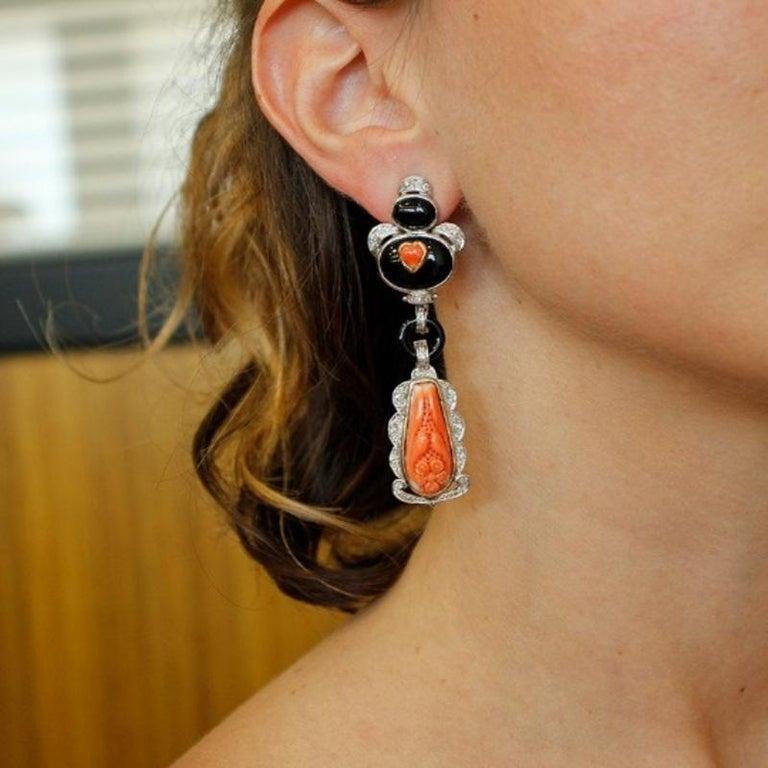 Women's Handcrafted Dangle Earrings Diamonds, Coral, Onyx, 14 Karat White Gold For Sale