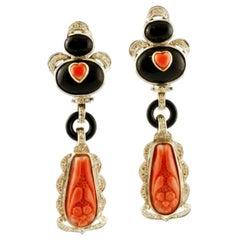 Handcrafted Dangle Earrings Diamonds, Coral, Onyx, 14 Karat White Gold