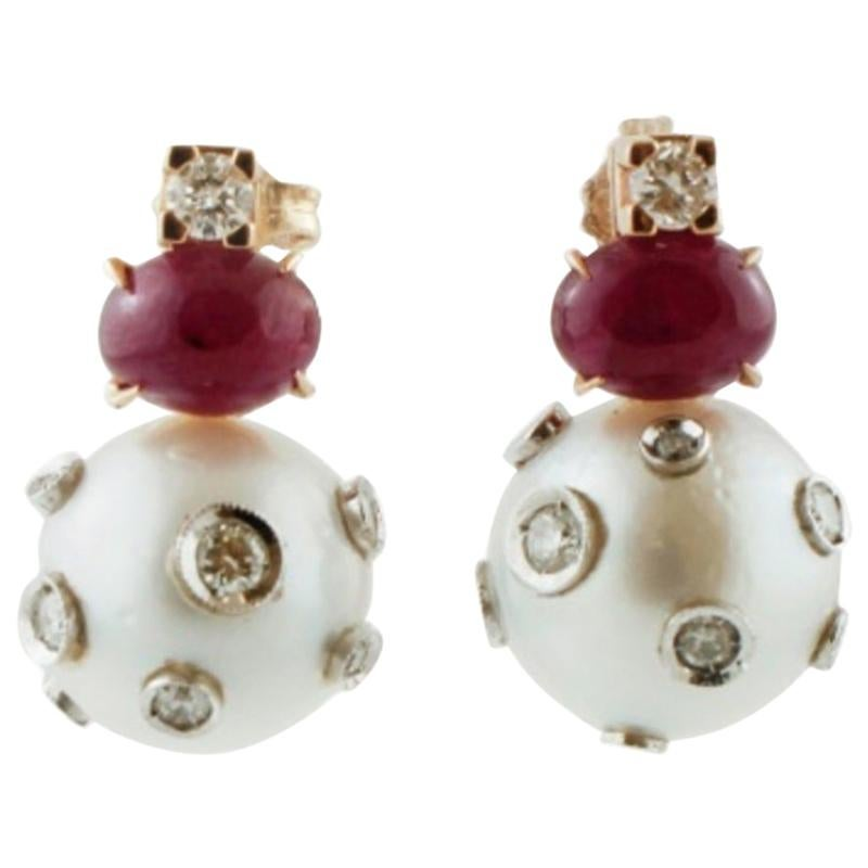Handcrafted Dangle Earrings Pearls, Rubies, Diamonds, 14 Karat Yellow Gold