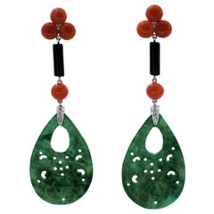Handcrafted Dangle Earrings, Diamonds, Onyx and Green Agate, Coral 14 Karat Gold
