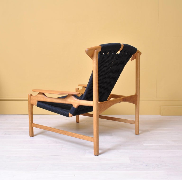 Handcrafted Danish Oak Lounge Chair by Martin Godsk For Sale 4