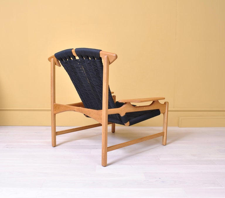 Handcrafted Danish Oak Lounge Chair by Martin Godsk In New Condition For Sale In London, GB