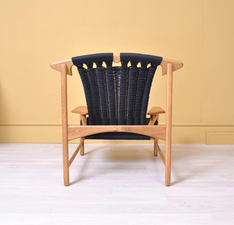 Handcrafted Danish Oak Lounge Chair by Martin Godsk For Sale 1
