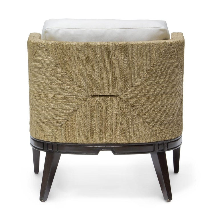 Modern Deluxe Coastal Style Armchair Handcrafted with Natural Woven Rope For Sale