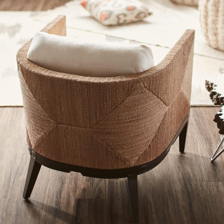 Hand-Crafted Deluxe Coastal Style Armchair Handcrafted with Natural Woven Rope For Sale