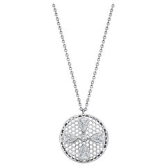Handcrafted Diamonds and 18 Karat White Gold Pendant Necklace