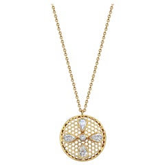 Handcrafted Diamonds and 18 Karat Yellow Gold Pendant Necklace