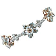 Handcrafted Diamonds, Aquamarine, White and Yellow Gold link Bracelet