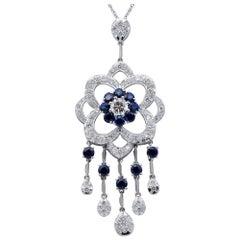 Handcrafted Diamonds, Blue Sapphires, 14 Karat White Gold Pendant Necklace