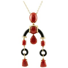 Handcrafted Diamonds, Coral, Onyx, 18 Karat Yellow Gold Pendant Necklace
