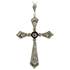 Handcrafted Diamonds, Emeralds, Onyx, 14 Karat White Gold Cross Pendant Necklace
