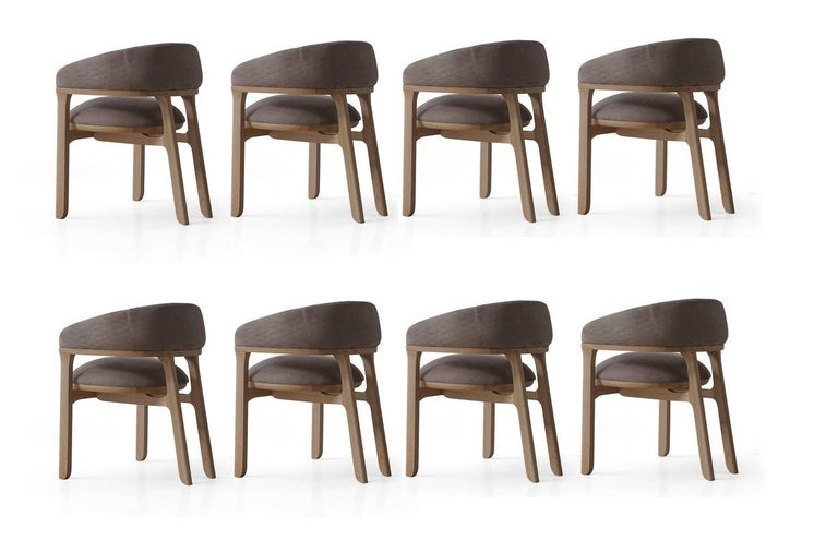 Modern Handcrafted Dining Chairs in Natural Solid Oak and Taupe Velvet For Sale