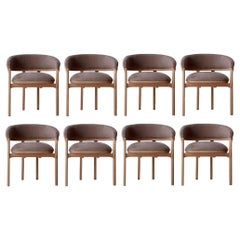 Handcrafted Dining Chairs in Natural Solid Oak and Taupe Velvet