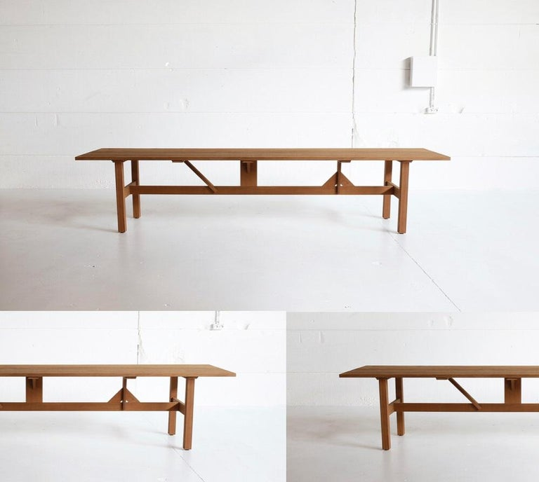 Modern Handcrafted Dining Table for Indoors/Outdoors in African Hardwood For Sale