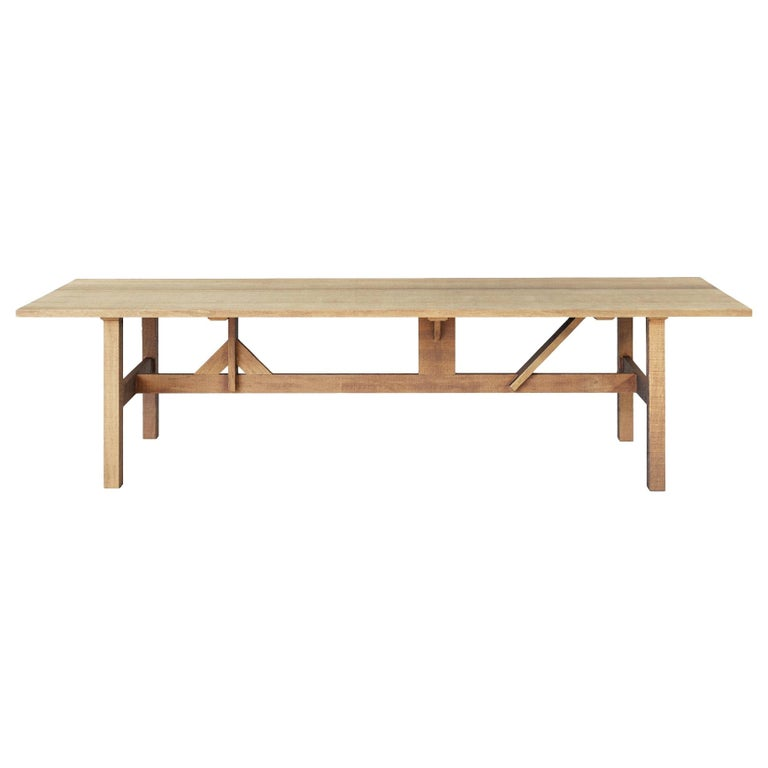 Handcrafted Dining Table for Indoors/Outdoors in African Hardwood For Sale