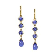 Handcrafted 1.65 Carats Tanzanites 18 Karat Yellow Gold Drop Earrings