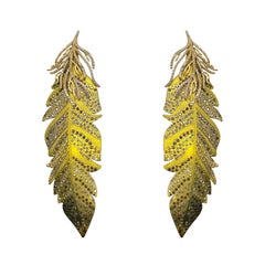 Handcrafted Eagle Titanium Earrings with White, Champagne, Brown Diamonds & Gold