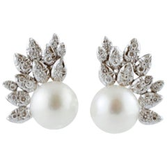 Handcrafted Earrings South Sea Pearls, Diamonds, in 14 Karat White Gold
