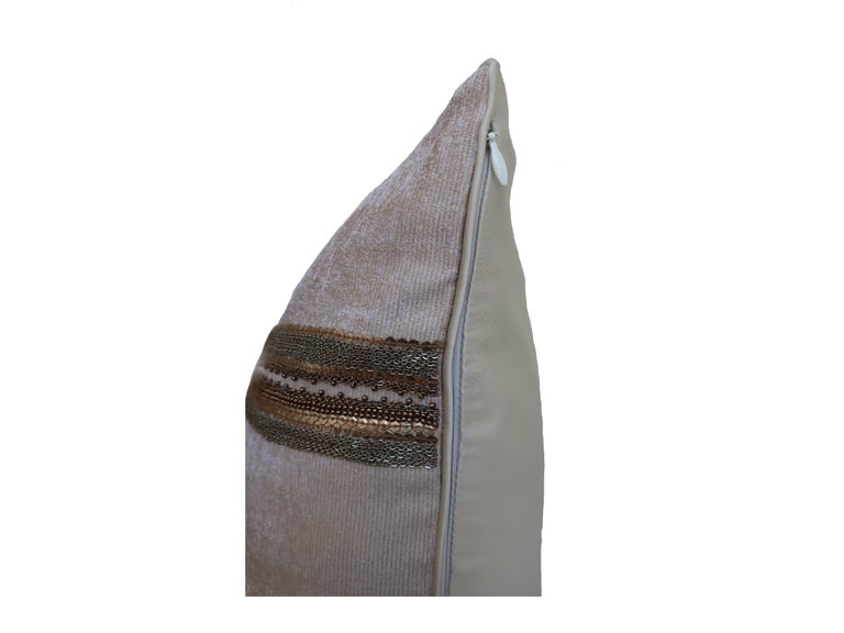 Modern Handcrafted Embroidered Chain and Metal Sequins Pillow Double Vertical Stripes For Sale