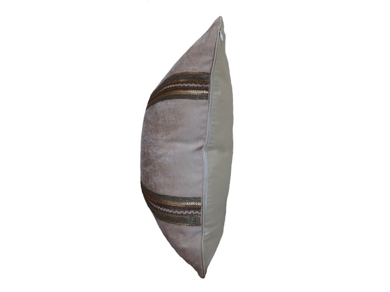 English Handcrafted Embroidered Chain and Metal Sequins Pillow Double Vertical Stripes For Sale