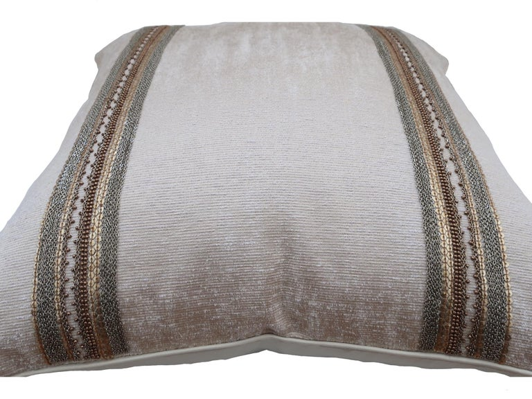 Handcrafted Embroidered Chain and Metal Sequins Pillow Double Vertical Stripes In New Condition For Sale In London, GB