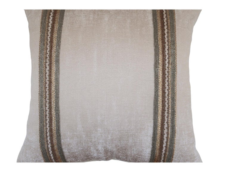 Contemporary Handcrafted Embroidered Chain and Metal Sequins Pillow Double Vertical Stripes For Sale