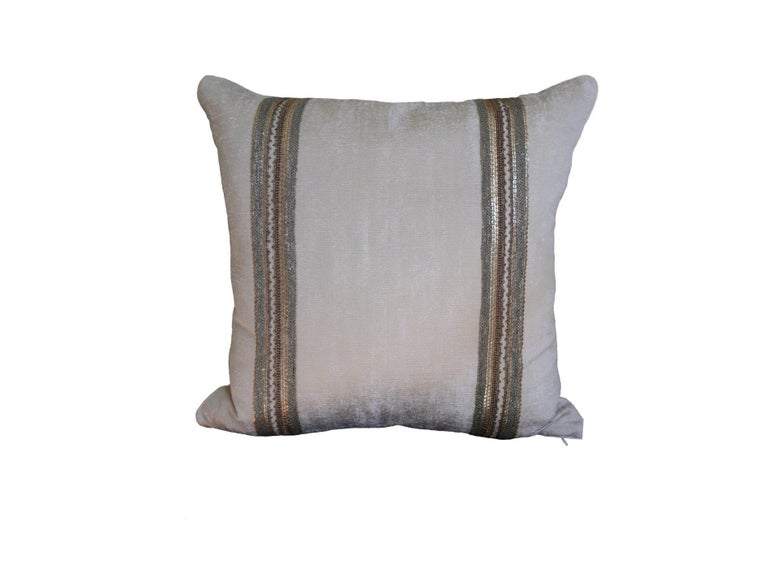 Fabric Handcrafted Embroidered Chain and Metal Sequins Pillow Double Vertical Stripes For Sale