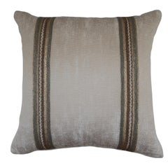 Handcrafted Embroidered Chain and Metal Sequins Pillow Double Vertical Stripes