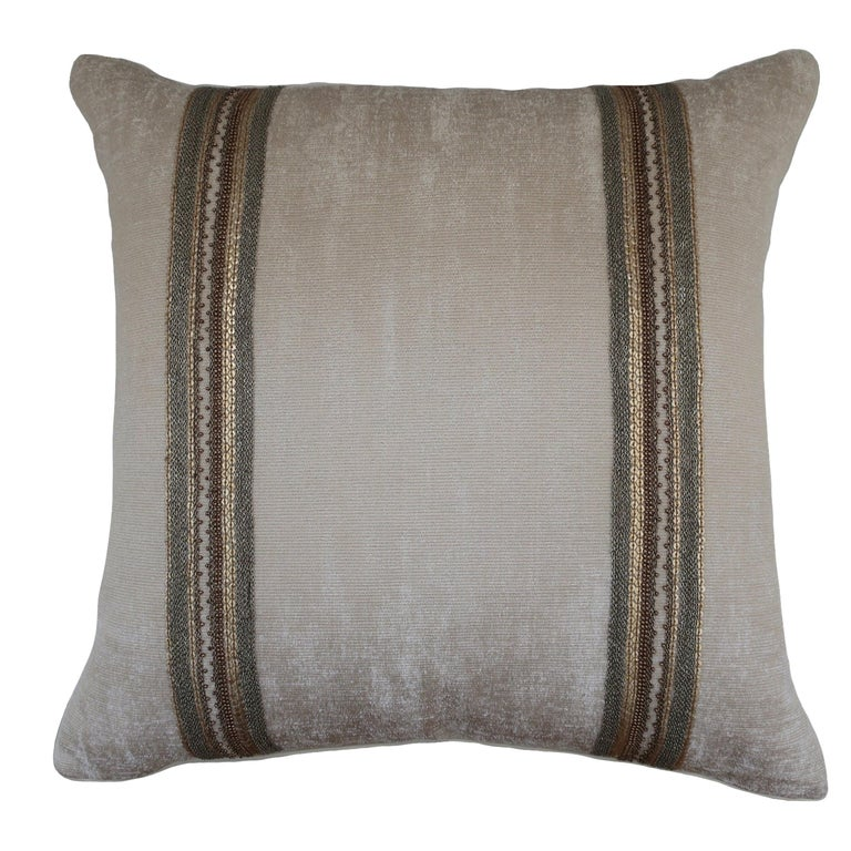 Handcrafted Embroidered Chain and Metal Sequins Pillow Double Vertical Stripes For Sale