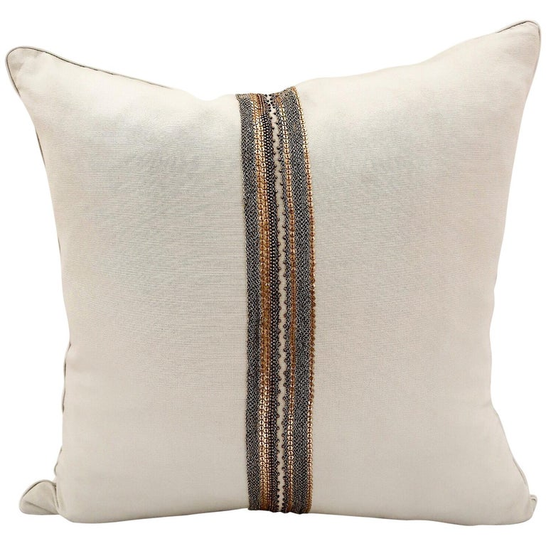 Handcrafted Embroidered Chain and Metal Sequins Pillow For Sale