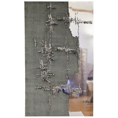 Handcrafted Embroidered Tapestry Textile Charcoal Grey Velvet and Faux Leather