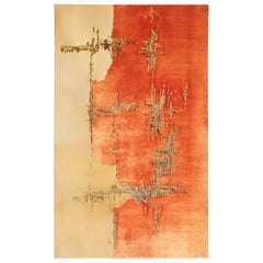 Handcrafted Embroidered Tapestry Textile Orange Papaya Velvet and Faux Leather