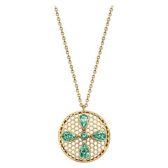 Handcrafted Emeralds and 18 Karat Yellow Gold Pendant Necklace