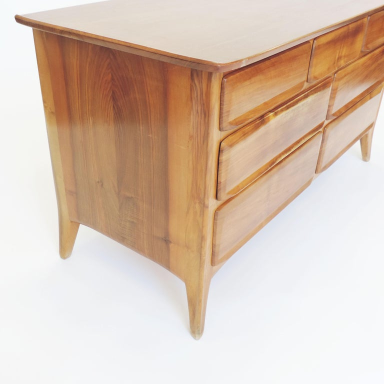 Mid-Century Modern Handcrafted Franz Xaver Sproll Wooden Chest of Drawers, Switzerland, 1940s For Sale