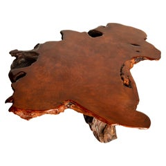 Handcrafted Freeform Live Slab Burl Redwood Coffee Table by Daryl Stokes, 1970s