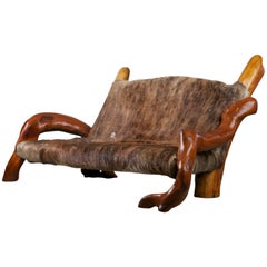 Handcrafted Freeform Live Slab Burl Wood Artisan Hair-on-Hide Sofa, circa 1970s