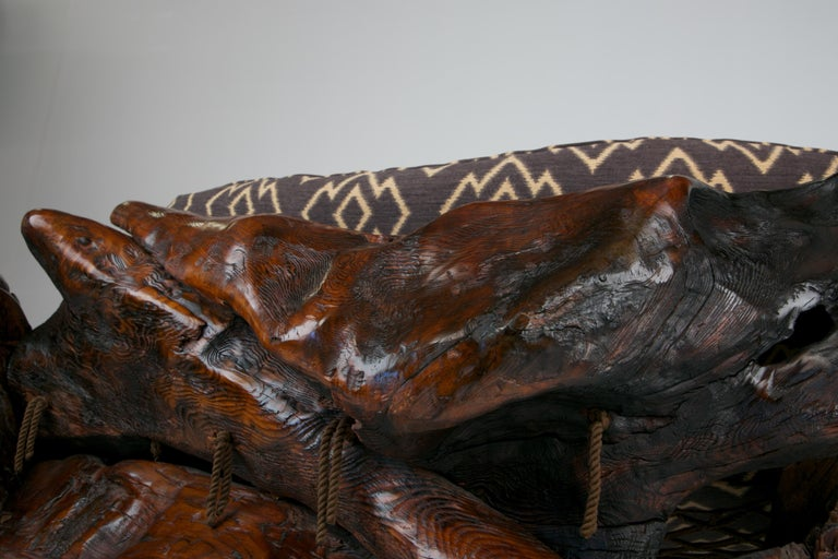 Handcrafted Freeform Slab Burl Redwood Artisan Sofa by Daryl Stokes, circa 1975 For Sale 4