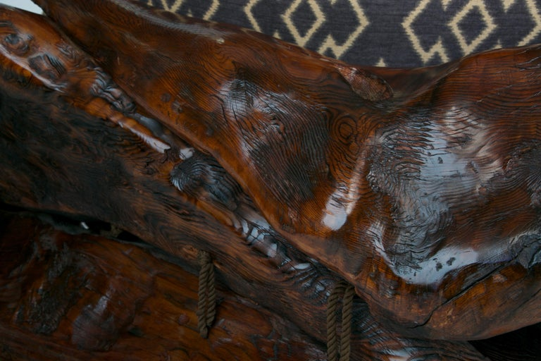 Handcrafted Freeform Slab Burl Redwood Artisan Sofa by Daryl Stokes, circa 1975 For Sale 6
