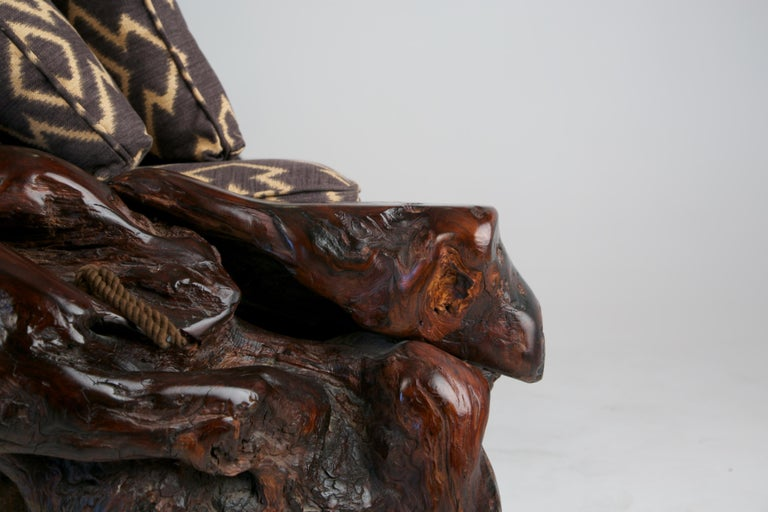Handcrafted Freeform Slab Burl Redwood Artisan Sofa by Daryl Stokes, circa 1975 For Sale 10