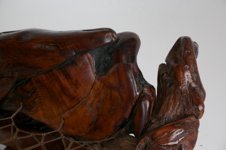 Handcrafted Freeform Slab Burl Redwood Artisan Sofa by Daryl Stokes, circa 1975 For Sale 11