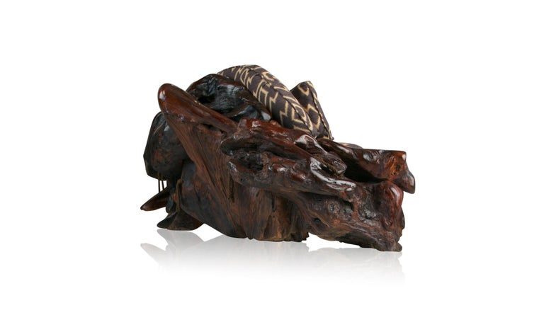 American Handcrafted Freeform Slab Burl Redwood Artisan Sofa by Daryl Stokes, circa 1975 For Sale