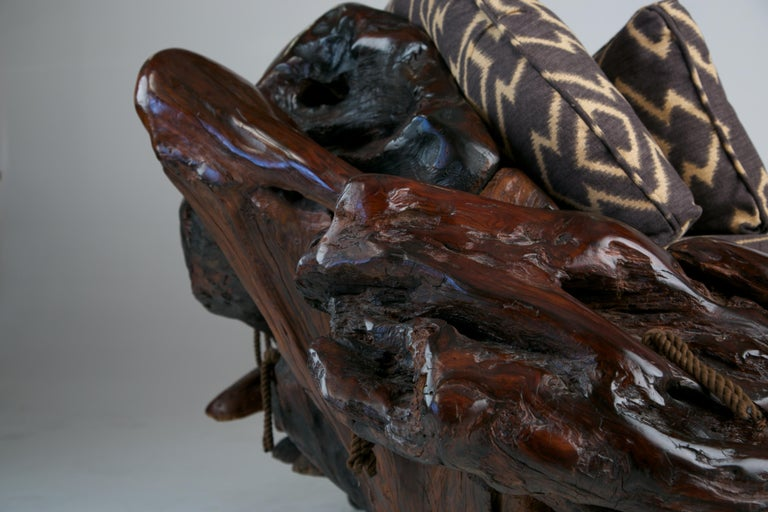 Handcrafted Freeform Slab Burl Redwood Artisan Sofa by Daryl Stokes, circa 1975 For Sale 2
