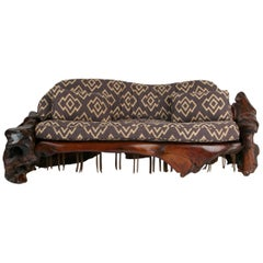 Handcrafted Freeform Slab Burl Redwood Artisan Sofa by Daryl Stokes, circa 1975