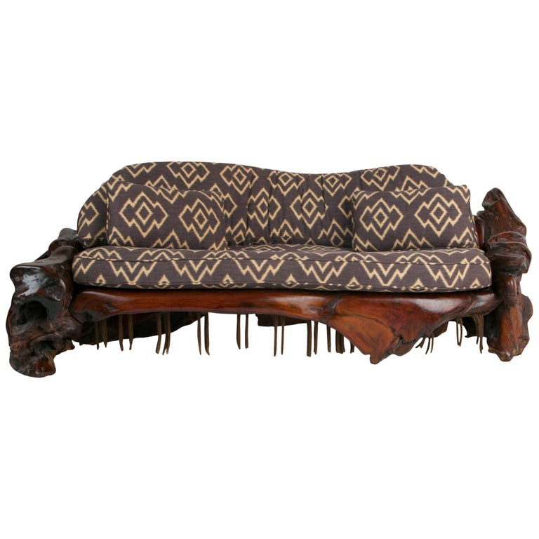 Handcrafted Freeform Slab Burl Redwood Artisan Sofa by Daryl Stokes, circa 1975 For Sale