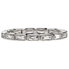 Handcrafted Julia French Cut Diamond Platinum Eternity Band by Single Stone