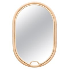 Handcrafted French Design Rattan Oval Mirror