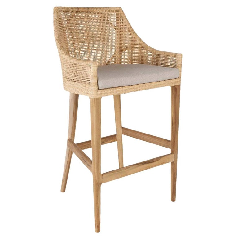 Phenomenal Handcrafted French Design Wooden And Rattan Bar Stool Gmtry Best Dining Table And Chair Ideas Images Gmtryco