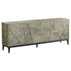 Handcrafted French Oak Sideboard in Brass Detailing